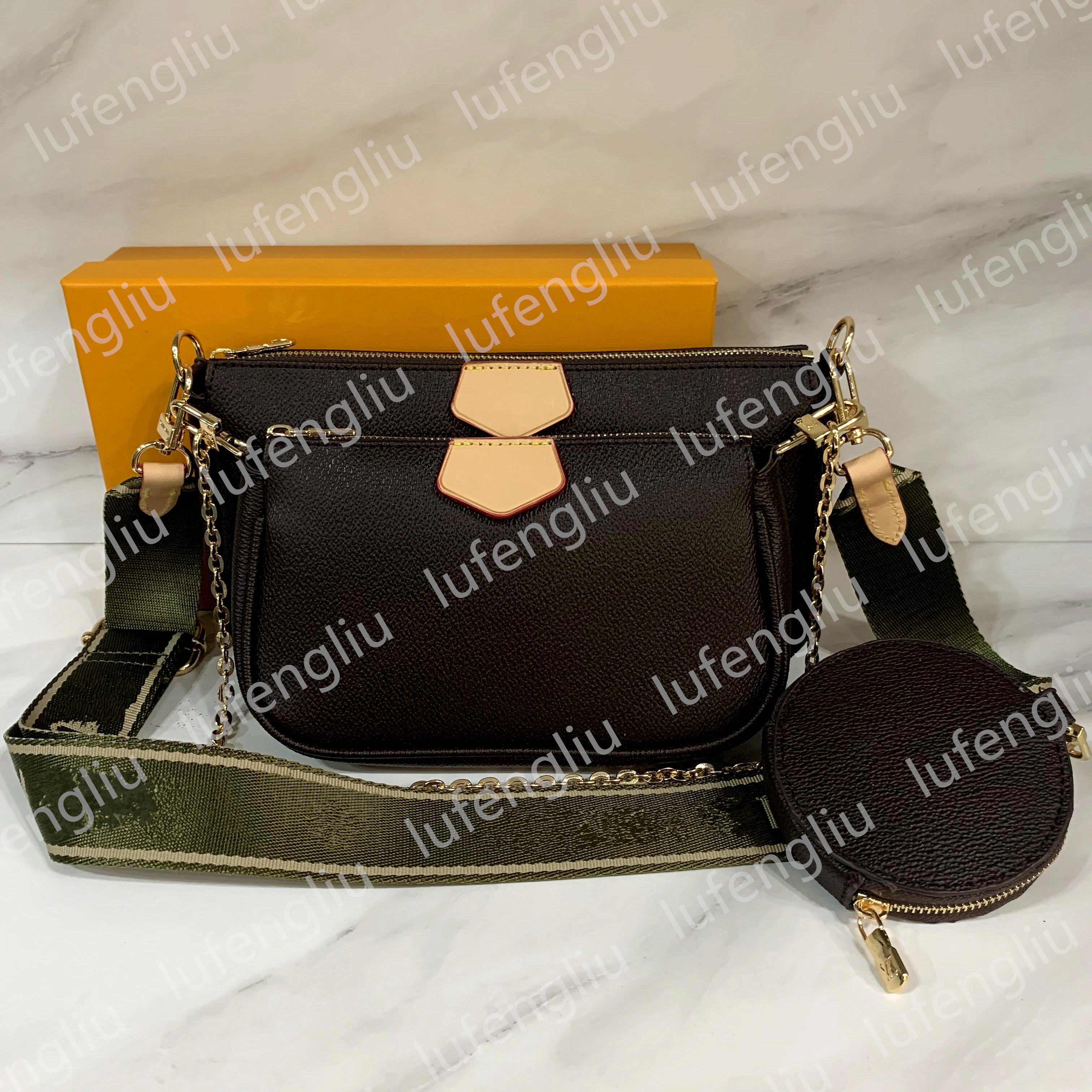 Nuove donne Preferito Borse di modo in vera pelle Multi Pochette Accessori Purses Flower Mini Pochette 3pcs Borsa a tracolla a tracolla