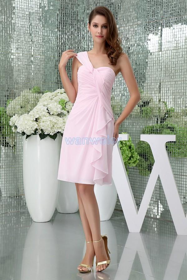 Bridesmaid Dress Modest 2021 Design Custom Size/color One Shoulder Chiffon Gown Short Pink Davids Bridal Dresses
