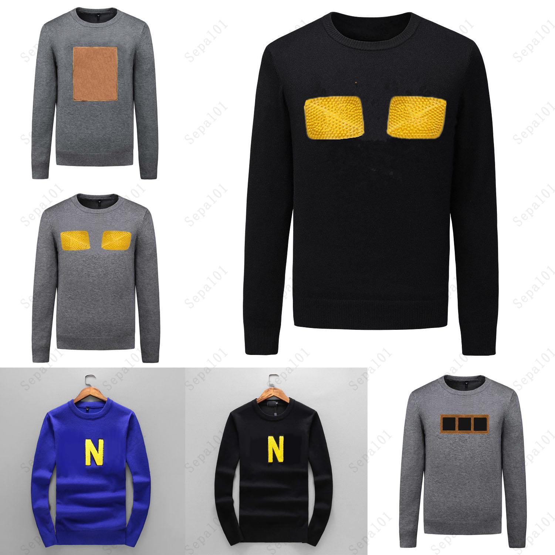 Sweater Men Sweater Classic Moda Letra Patrón Otoño Invierno Manga Larga 5 Estilo Hombres Suéteres Casual Equipo Cuello Contraste Color Tops
