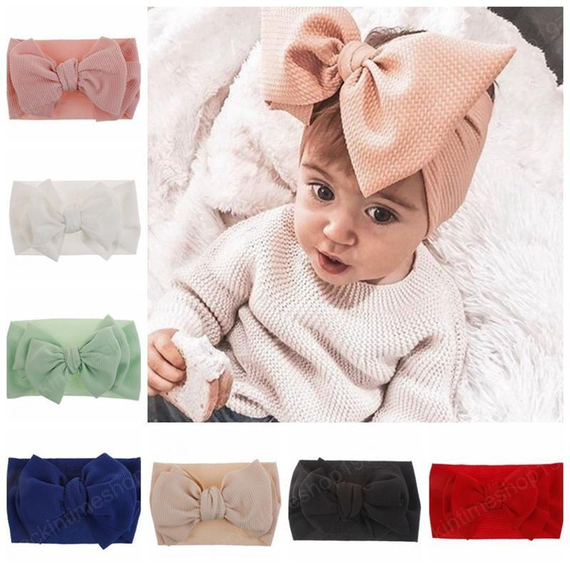 Baby Girl Turban Headband Solid Bow Knot Hairband Girls Stretchy Head Wraps DIY Boutique Headwear Hair Accessories 10 Colors