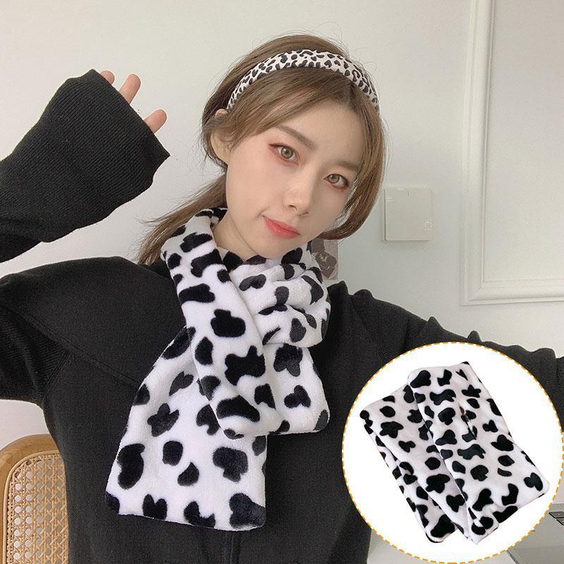 Шарфы пушистый крест шеи зима теплая шаль утолщенные обертывания черные белые милые коров пятна печать плюшевые шарф меховой воротник мягкий