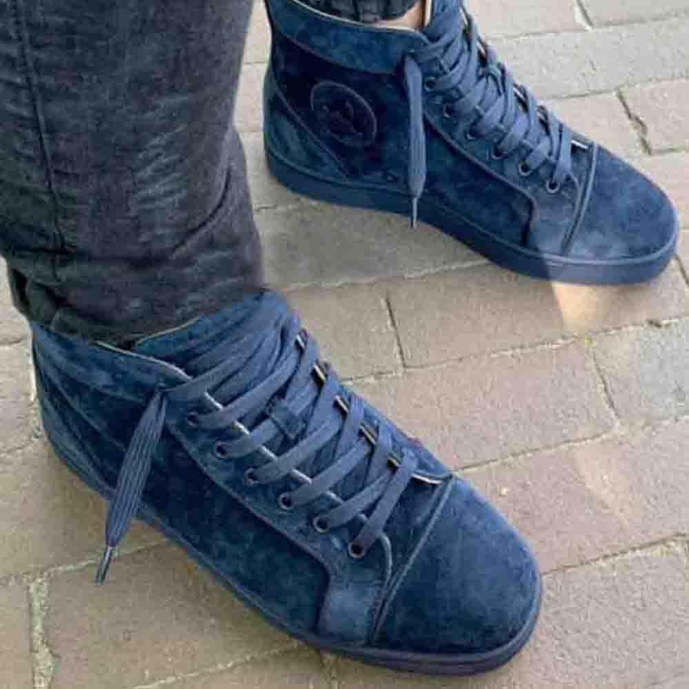 Mais novo mens calçado casual tênis de fundo vermelho mulher high-top camurça couro espinhos sneaker mulheres teathers trained trainers lace up festa sapatos rápido navio