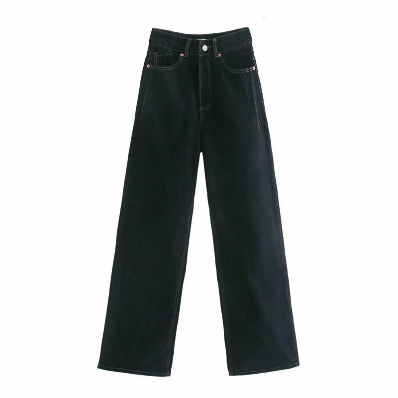 Kadın Tangada 2021 Yüksek Bel Backergth Kot Pantolon Cepler Fermuar Kadın Geniş Bacak Denim Pantolon O77V