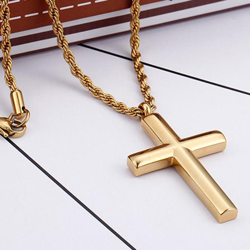 Кулон Ожерелья Золотой тон Кросс-цепь для Хип-хоп Рок Мужчины 316L Из Нержавеющей Стали Иисус Ювелирные Изделия Подарок