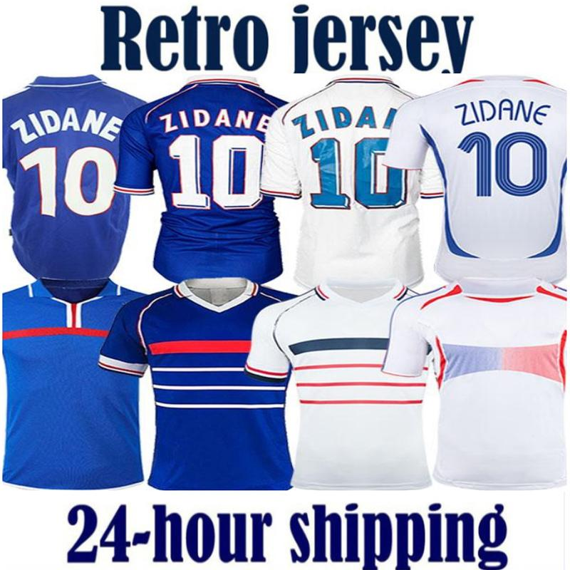 1998 Retro 2002 Zidane Henry Maillot de Foot Fransa Futbol Formaları 1996 2004 Futbol Formaları Gömlek Trezeguet Away Finall 2006 Beyaz 2000