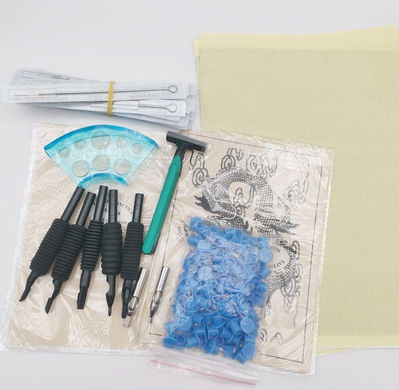 KT38 İndirim Dövme Parçası Aksesuar 20 adet İğneler Mürekkep Bardaklar Kauçuk Sapları 5 adet Termal Kağıt Uygulama Cilt Vücut Sanatı Araçları Için Komple Dövme Guns Kitleri Malzemeleri