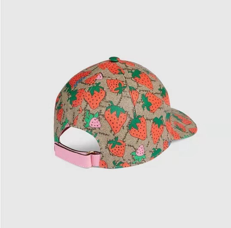 Sıcak Klasik Mektup Çilek Baskı Beyzbol Şapkası Kadınlar Ünlü Pamuk Ayarlanabilir Kafatası Spor Golf Kavisli Yüksek Kalite Kaktüs Güneş Şapka