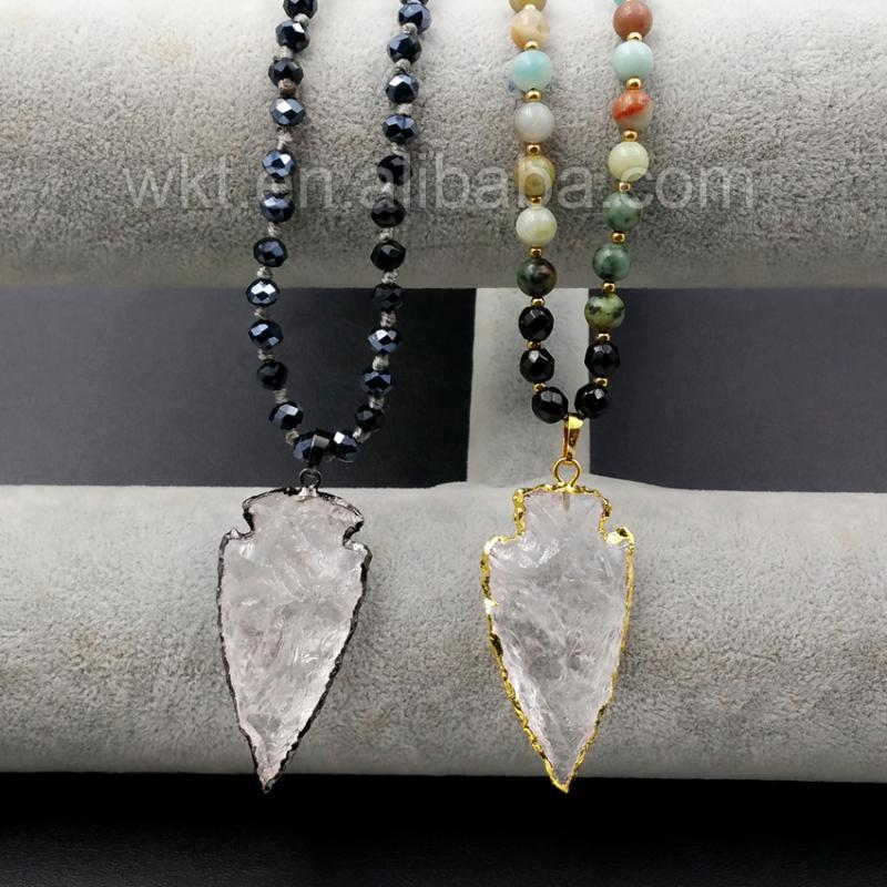 """WT-N905 5pcs/lot All-Match Natural Crystal Arrowhead Pendant with 32"""" long Handmade Beads Necklace Design Wholesale"""