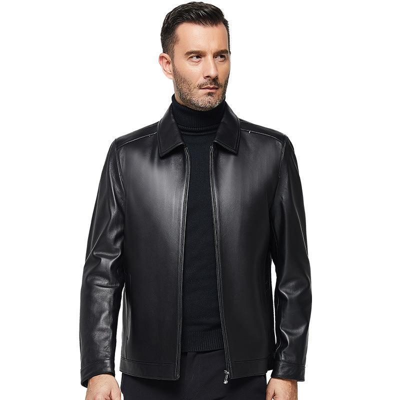 Abrigo de cuero Chaqueta de cuero para hombre, primavera y abrigo de otoño de mediana edad, envejecido de mediana edad y viejo, al por mayor de papá.