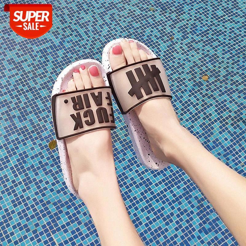 Summer Letter Women Men Spiaggia Pantofole 2019 Moda Piattaforma morbida Donne Delle Donne Scivoli esterni Comfort Scarpa donna # PY1P