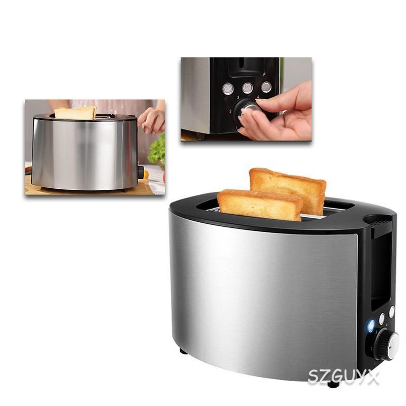 Fabricantes de pão torradeira casa pequena máquina de café da manhã, torrada de pão de aquecimento, 2 fatias de torradeira de aço inoxidável, simples e rápido