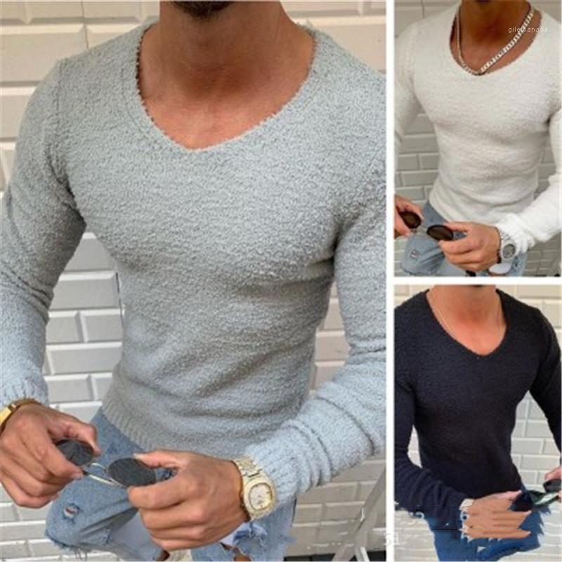 Trend Langarm Casual Skinny Tops T Shirts Frühling Männlich Neue Dünne Bottoming T-Shirt Kleidung Herren Rundhals Strick T-Shirt Mode