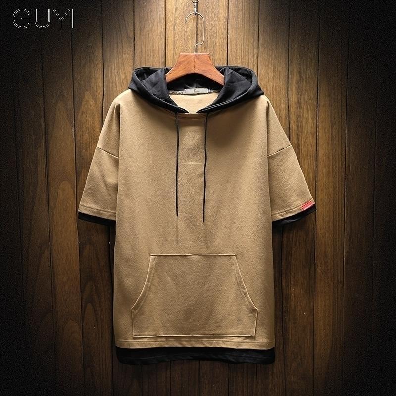 GUYI PALTWORK TOOL TOOTSHRTS Мужчины с капюшоном Случайные капюшоны оружия осенние толстовки хип-хоп мальчик пуловер карманный с коротким рукавом 201130