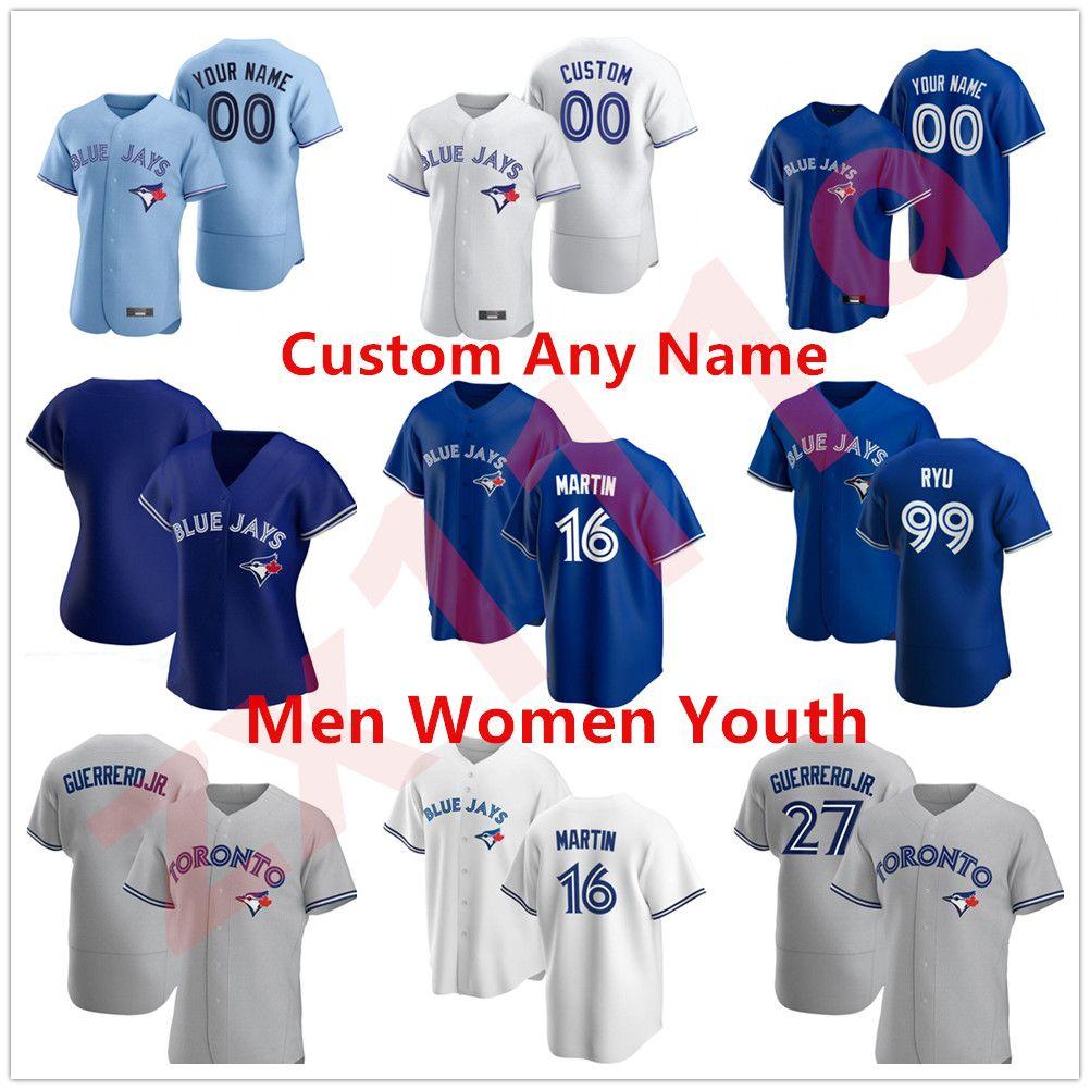 Custom Toronto 2020 майки BlueJays Vladimir Guerrero Jr. Cavan Biggio Hyun-Jin Ryu Yamaguchi Randal Grichuk Drury Hernandez Jansen