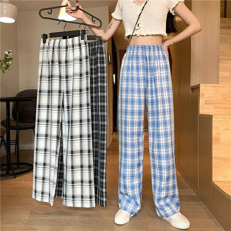Frauenhose Capris Latimeelon Hip Hop Mode Mädchen Harajuku Gothic Plaid Weibliche Student Casual Lustige Gerade Sommer Nette Basic