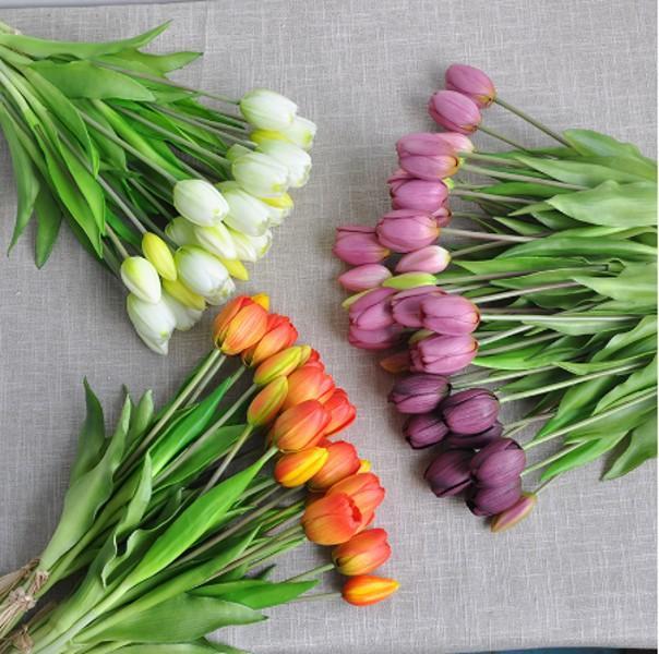 Silicone de luxe Touch Touch Tulips Bouquet Décoratif Artificielle Fleurs Salon Décoration Flores Artificiels