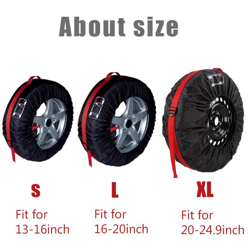 1pc/4pcs Car Spare Tyre Cover Garage Tire Case Auto Vehicle Automobile Tire Accessories Summer Winter Protector Tire Storage Bag