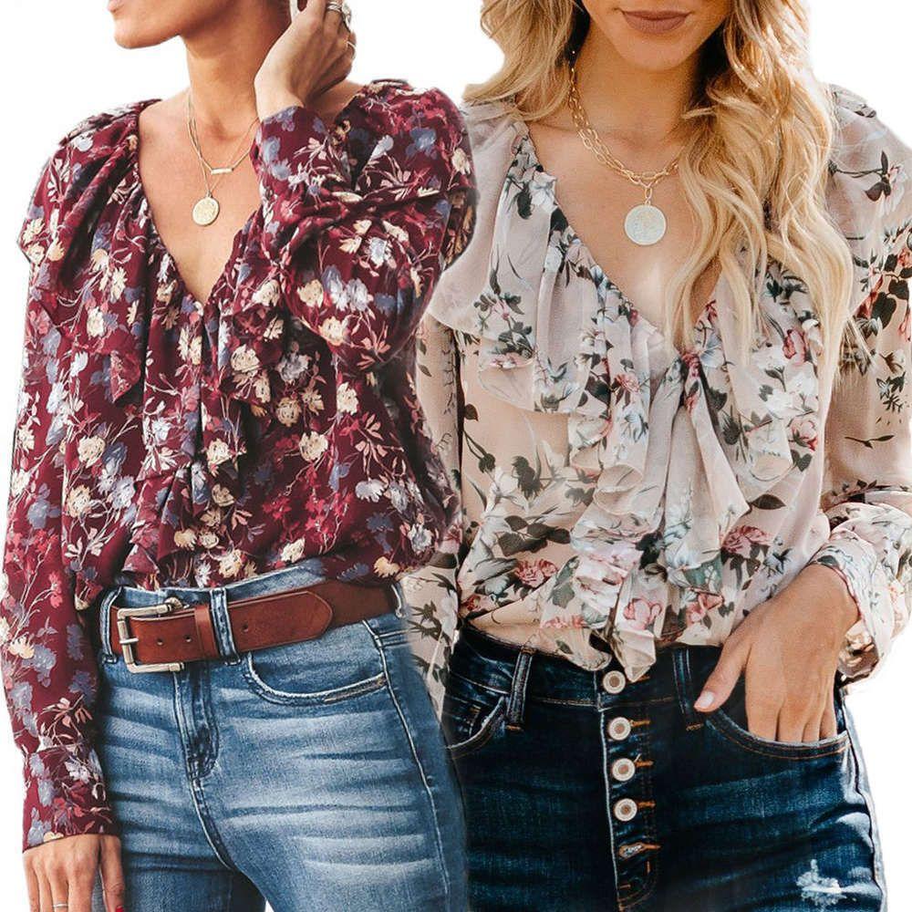 Camisa para mujer 2021 primavera y otoño de manga larga de manga larga para mujer V Camisa de solapa grande de Lotus Big P37