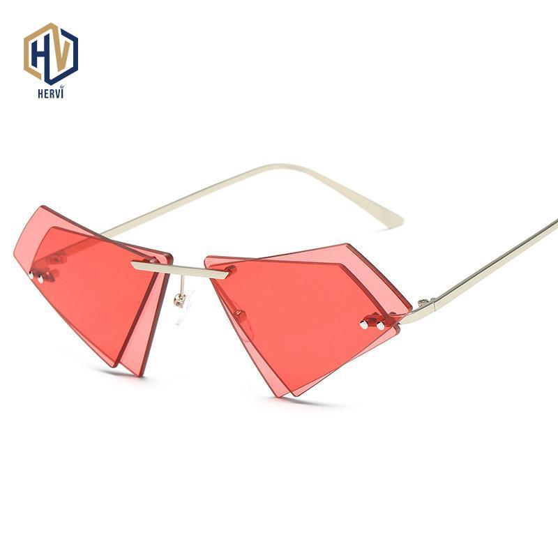 Солнцезащитные очки Мода Металлические Безрамные Мужчины Женщины Нерегулярные Полигон Солнцезащитные Очки Двойной слой Океанские Очки Очки Гафас де Соль