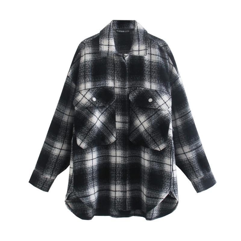 Vintage Siyah Ve Beyaz Ekose Ceket Moda Kadınlar Sonbahar Çek Gömlek Ceket Zarif Bayanlar Turn-down Yaka Mont