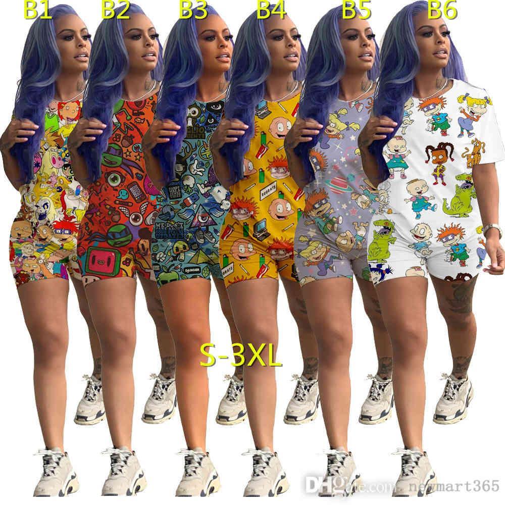 Femmes Tracksuits 2 pièces Lettre imprimée Tracksuit Short Short Short à manches courtes Two Piece Costume de jogging Femmes Été Mode 2021