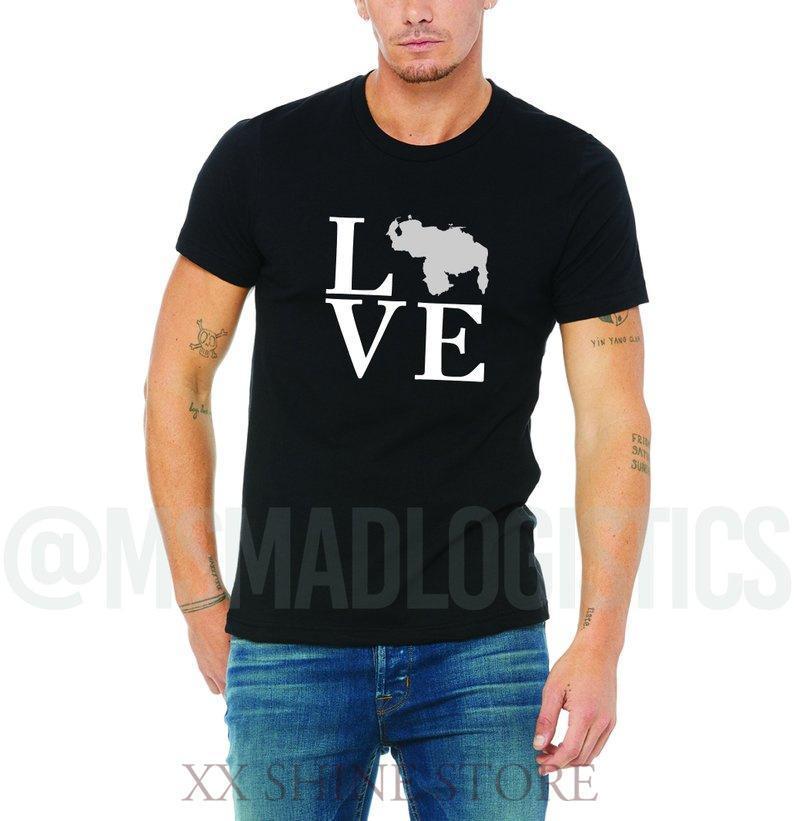 Camisetas para hombres Mapa de Venezuela Mapa Plata y Blanco Amor ilustraciones Imprimir camiseta Soft Algodón negro o tela Hombres disponibles