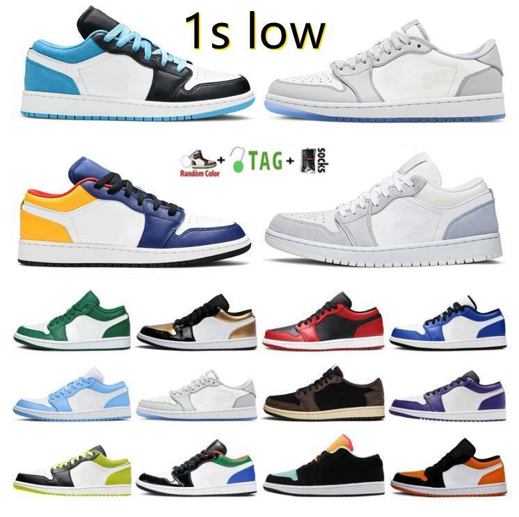 Airjordan1 레트로 1s 낮은 OG 농구 신발 대학 블루 실버 로얄 발가락 검은 금속 골드 중반 연기 회색 UNC 특허 남성 여성 운동화 트레이너