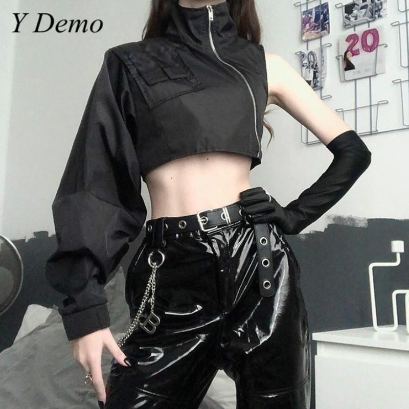 Techwear Asymetric Women Jacket One Shoulder Stand Collar Zipper Jacket