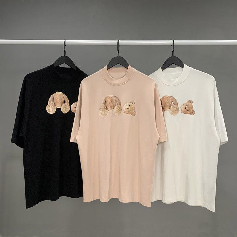 2021 패션 여름 남성과 여성의 티셔츠 스타일리스트 깨진 곰 인쇄 자수 짧은 소매 부러진 곰 천사 티