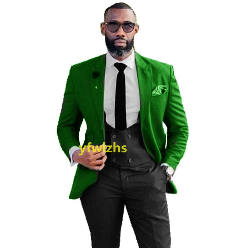 Customize tuxedo One Button Handsome Peak Lapel Groom Tuxedos Men Suits Wedding/Prom/Dinner Man Blazer(Jacket+Pants+Tie+Vest) W972