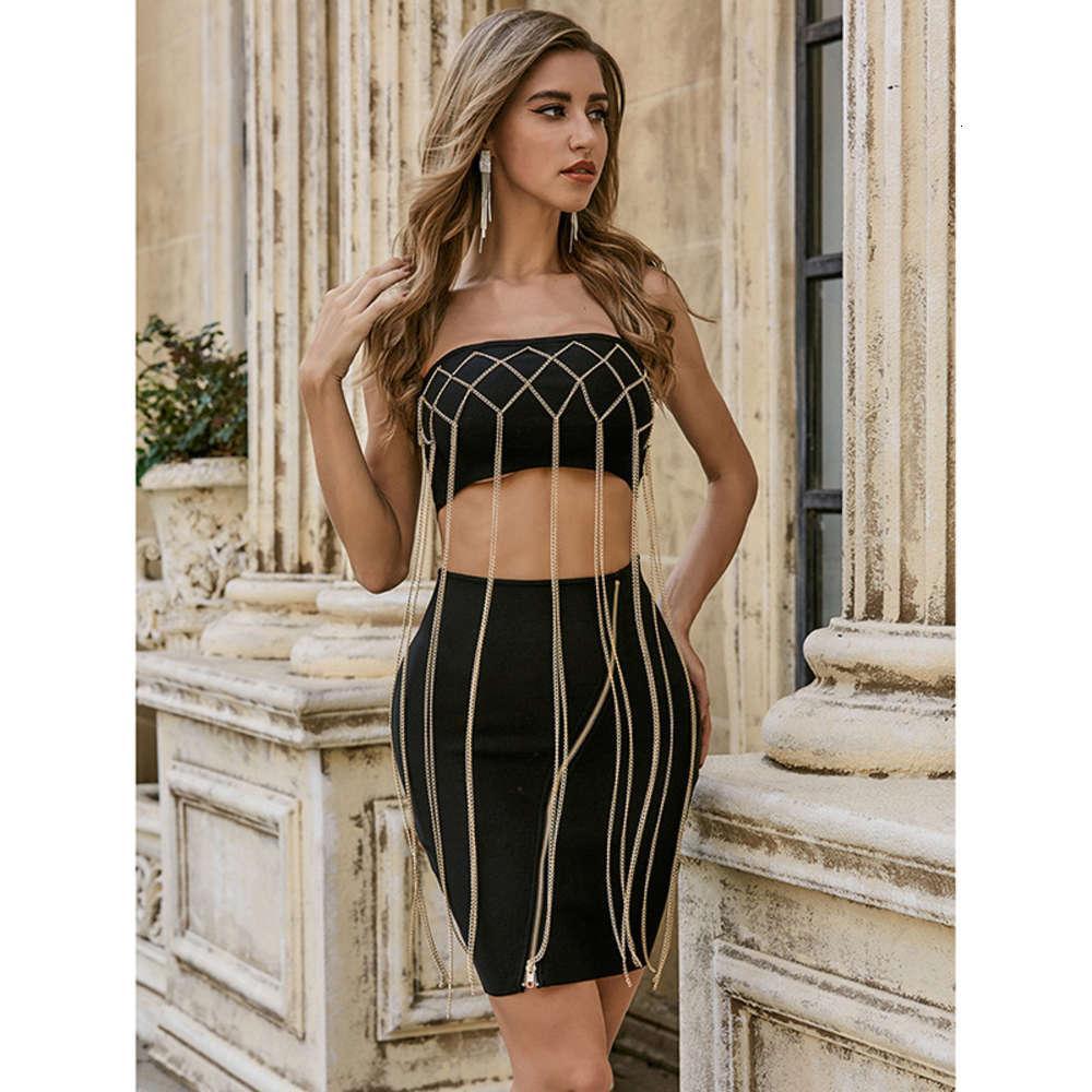 Sexy sujetador cadena falso dos delgado vestido de vendaje sexy