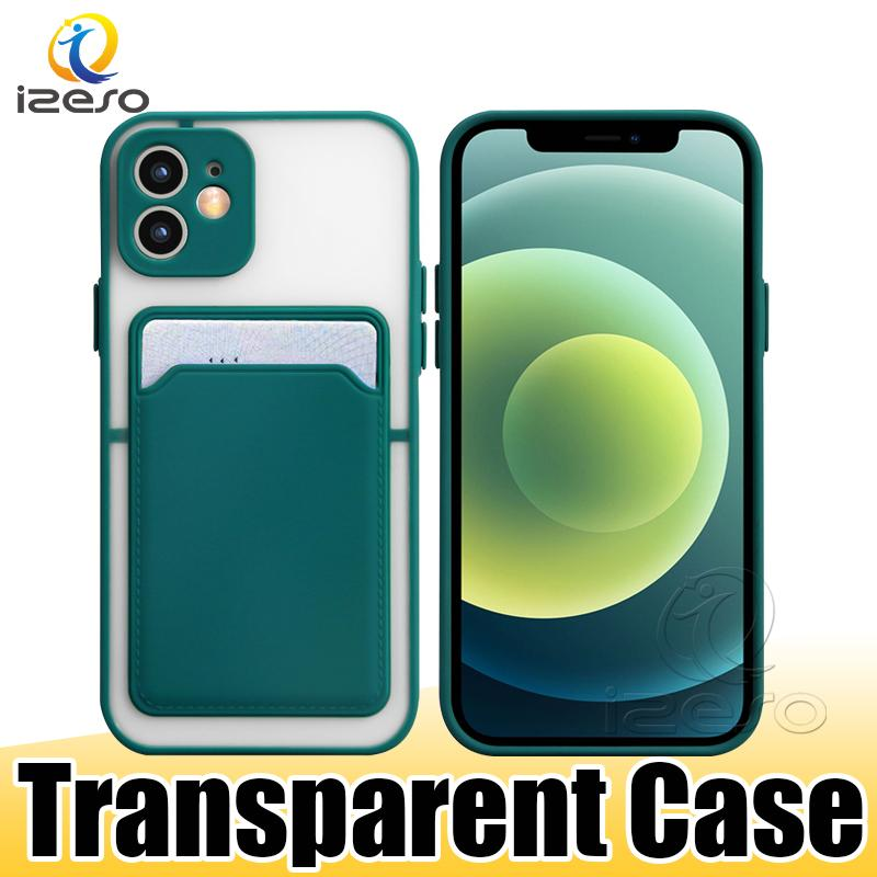 Card Holder Slot Translucent Phone Cases for iPhone 12 Pro Max 11 XR XS 8 7 Plus Samsung S21 Ultra A82 5G izeso