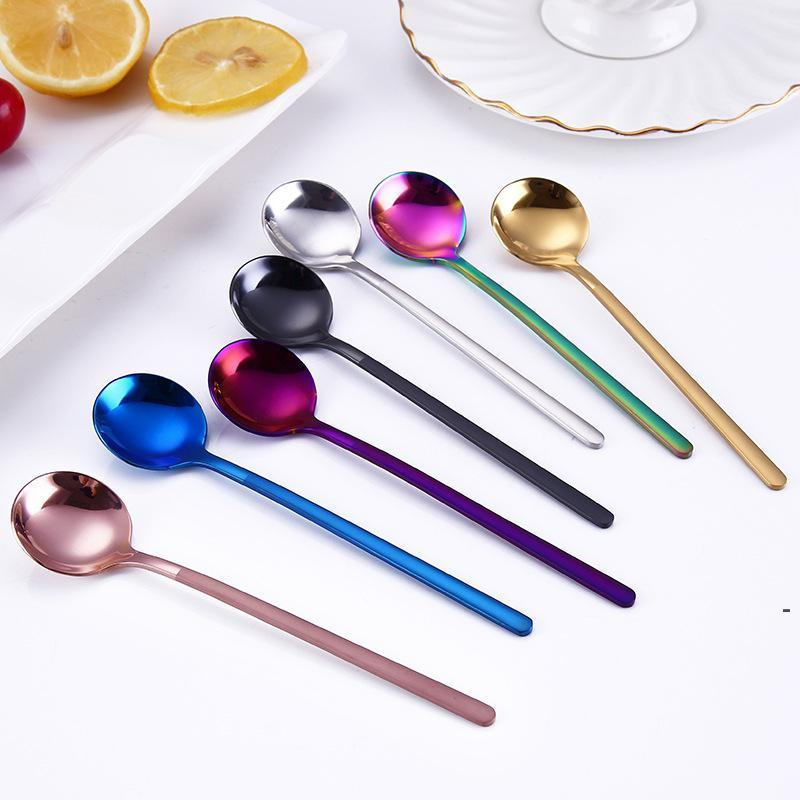 304 Stainless Steel Spoon 13CM Round Coffee Spoons Stirring Spoon 7 Color Mini Dessert Spoon Kitchen Bar Table Tableware OWF5309