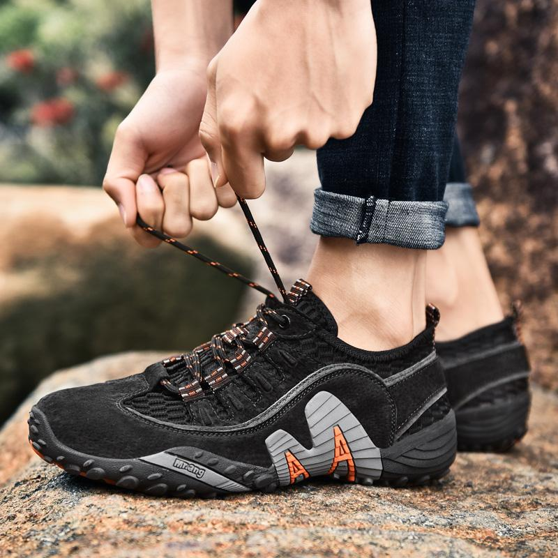 Outdoor Man Walking Shoes Comfortable Breathable Non-slip Men Hiking Shoes Hard-Wearing Training Shoes Plus Size Sneakers 47 48