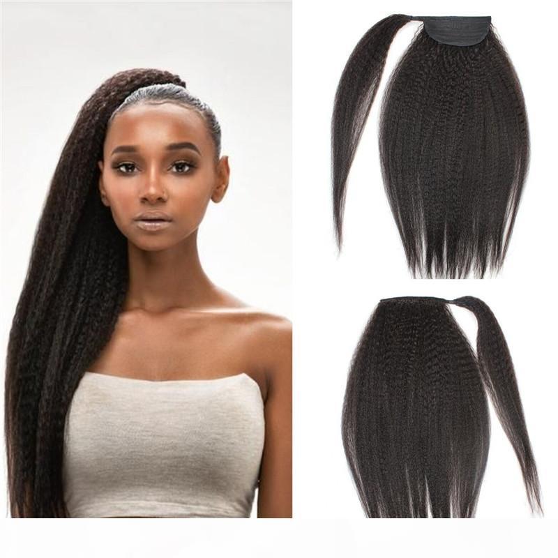 AFRO Kinky прямые человеческие волосы хвост для черных женщин натуральный черный цвет Virgin бразильская обертка вокруг хвостических волос 120 г