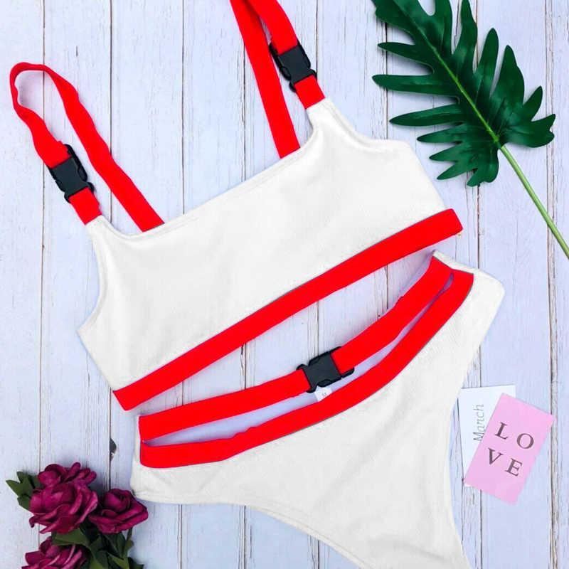 Sexy Blanc / Rouge Haute Coupe Biquini Maillot de bain Femmes Brésilien Bikini Maillots de bain Bandage Buckle Buckle Culture de bain Drop Expédition Y0820
