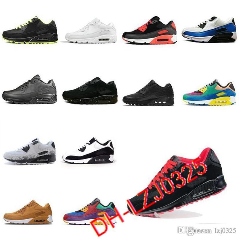 90 Botas zapatillas para correr hombres Todos Negros Blanco Classic Transpirable Sports Sports Aires al aire libre Cojín Sneakers 36-45 DHX-H86