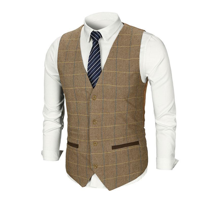 Men Vest Suit Brown Tweed Vest Slim Fit British Style Cotton Sing Breasted Plaid Wedding Dress Waistcoat Suit