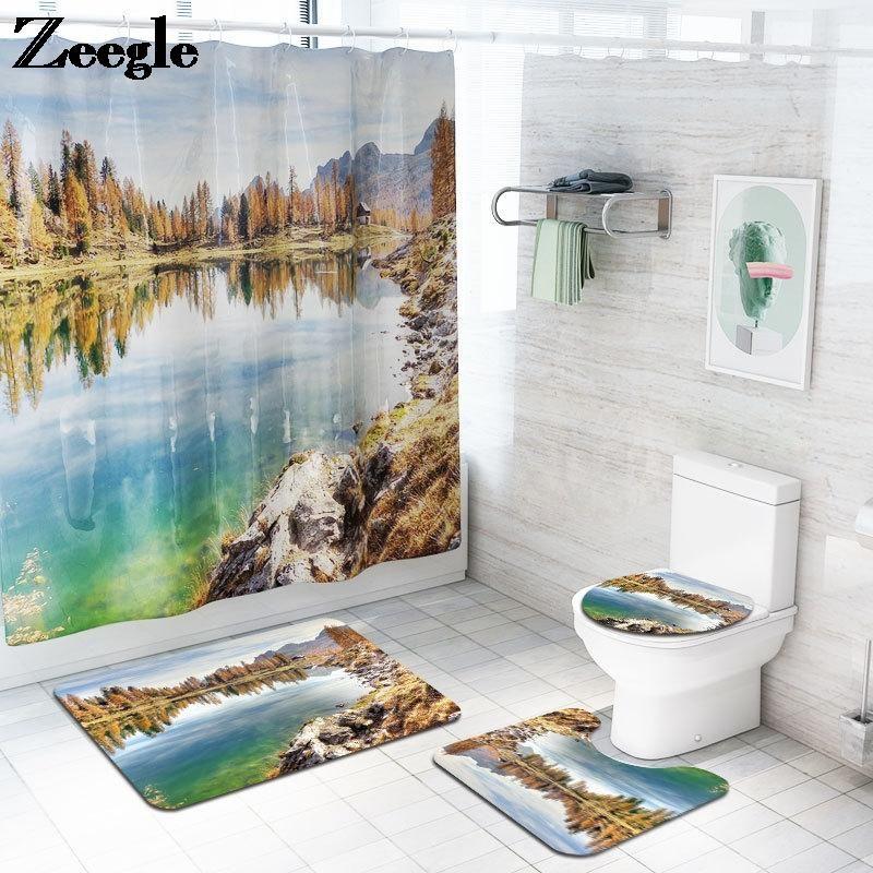 Цикл коврик для ванн и душевой занавеской набор пейзаж туалет коврик для туалета ванная комната набор туалетов из микрофибры туалет