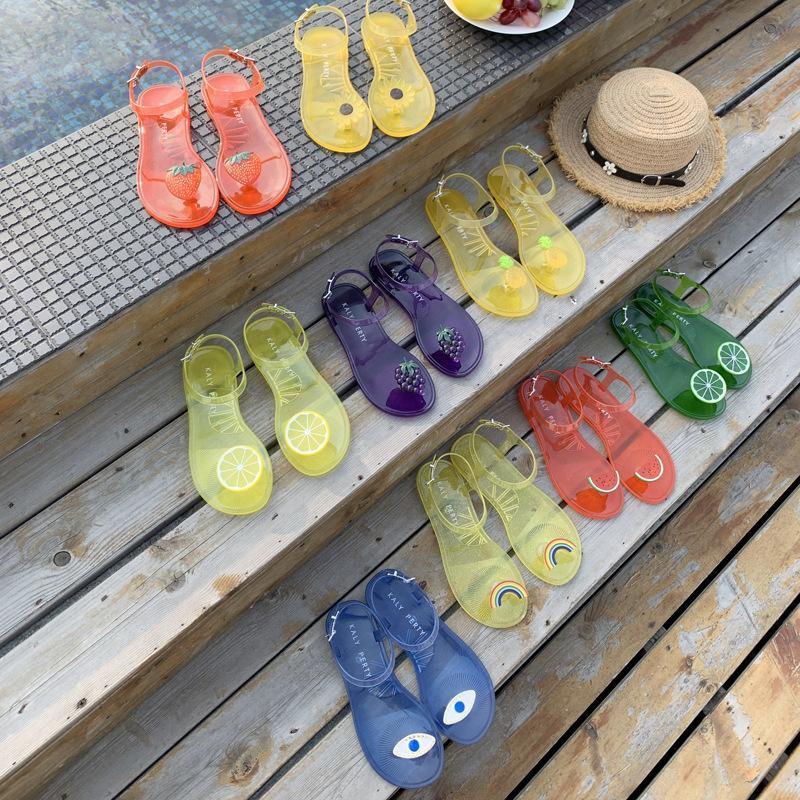Летние сандалии Женские флипсовые сандалии прозрачные чистые красные плоские пляжные туфли на побережье праздничные гель обувь