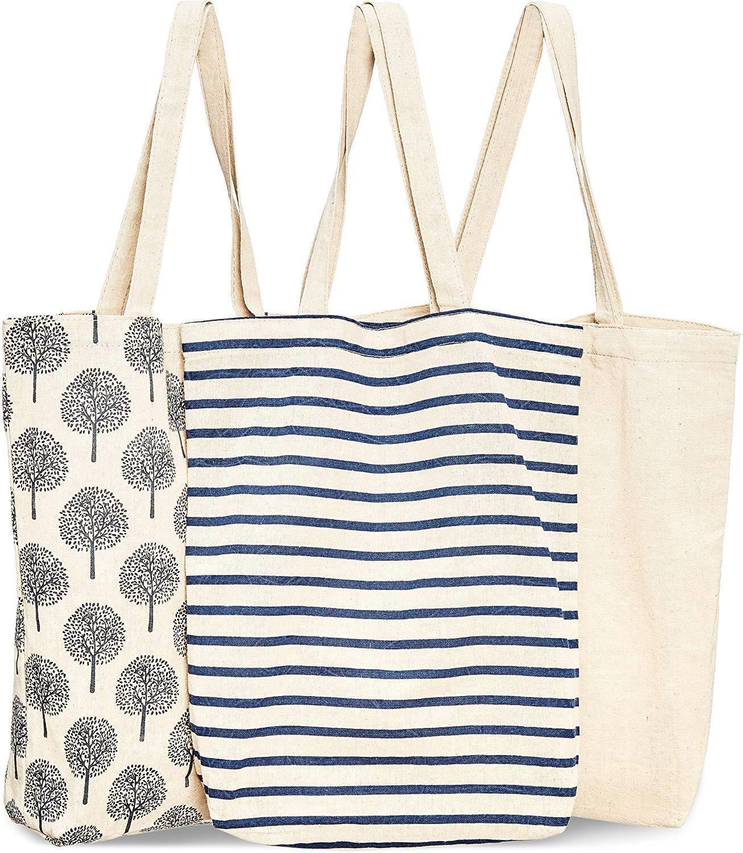 Wiederverwendbare Baumwoll-Lebensmittelgeschäft einkaufen Taschen, 3 Designs, Segeltuch Baumwolle Einkaufstasche