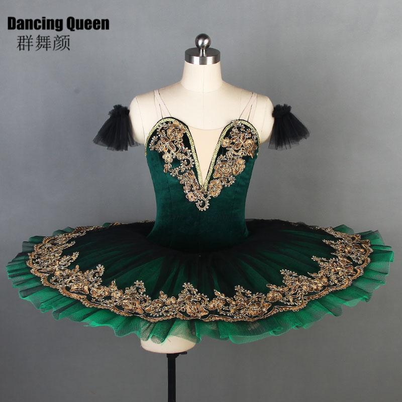 Deep Green Velvet Bodice Professional Ballet Tutu For Women Girls Pancake Platter Ballerina Kids Adult