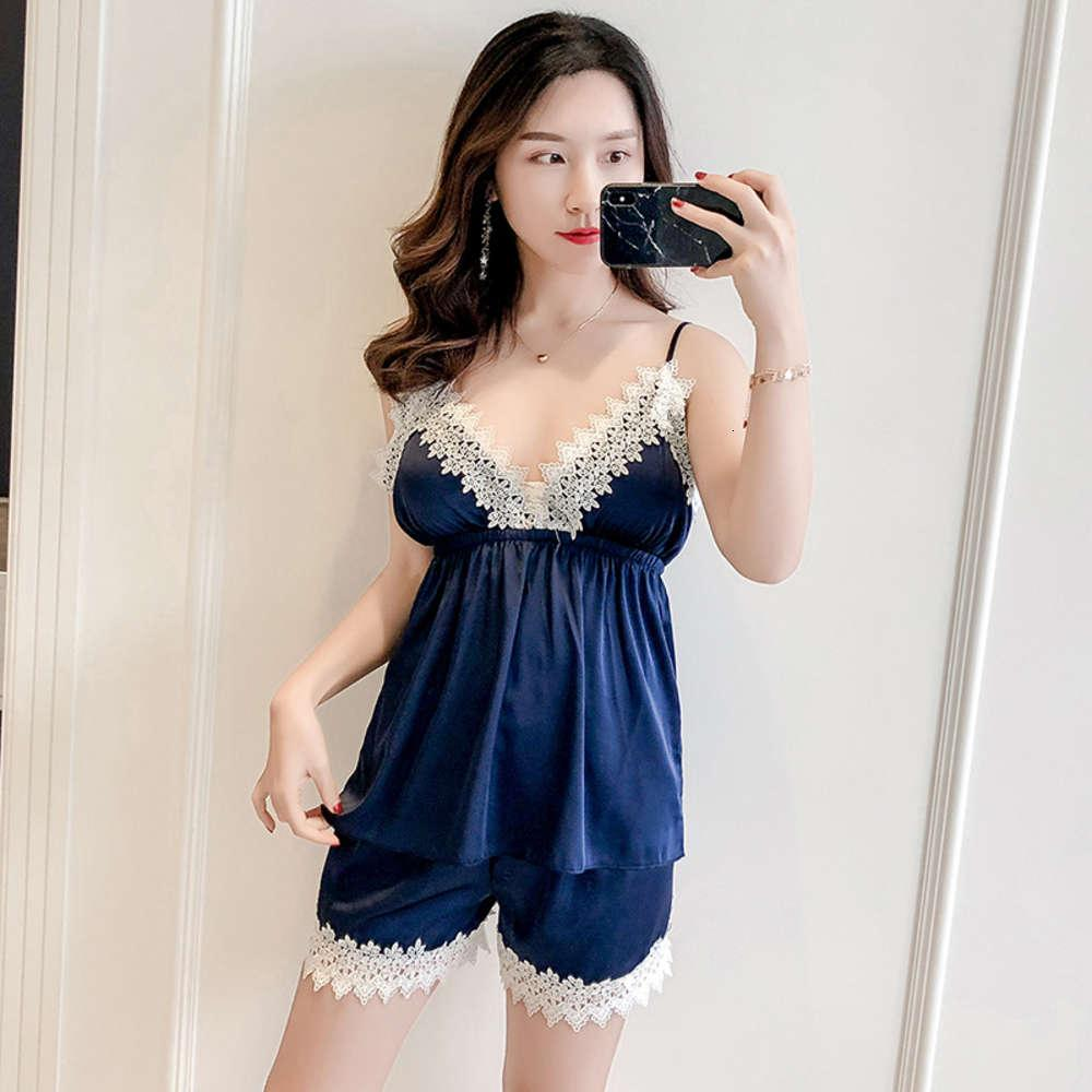 Устанавливает летние женские тонкие шелковые пижамы дома носить сладкое сексуальное подвеска шорты два куска костюма