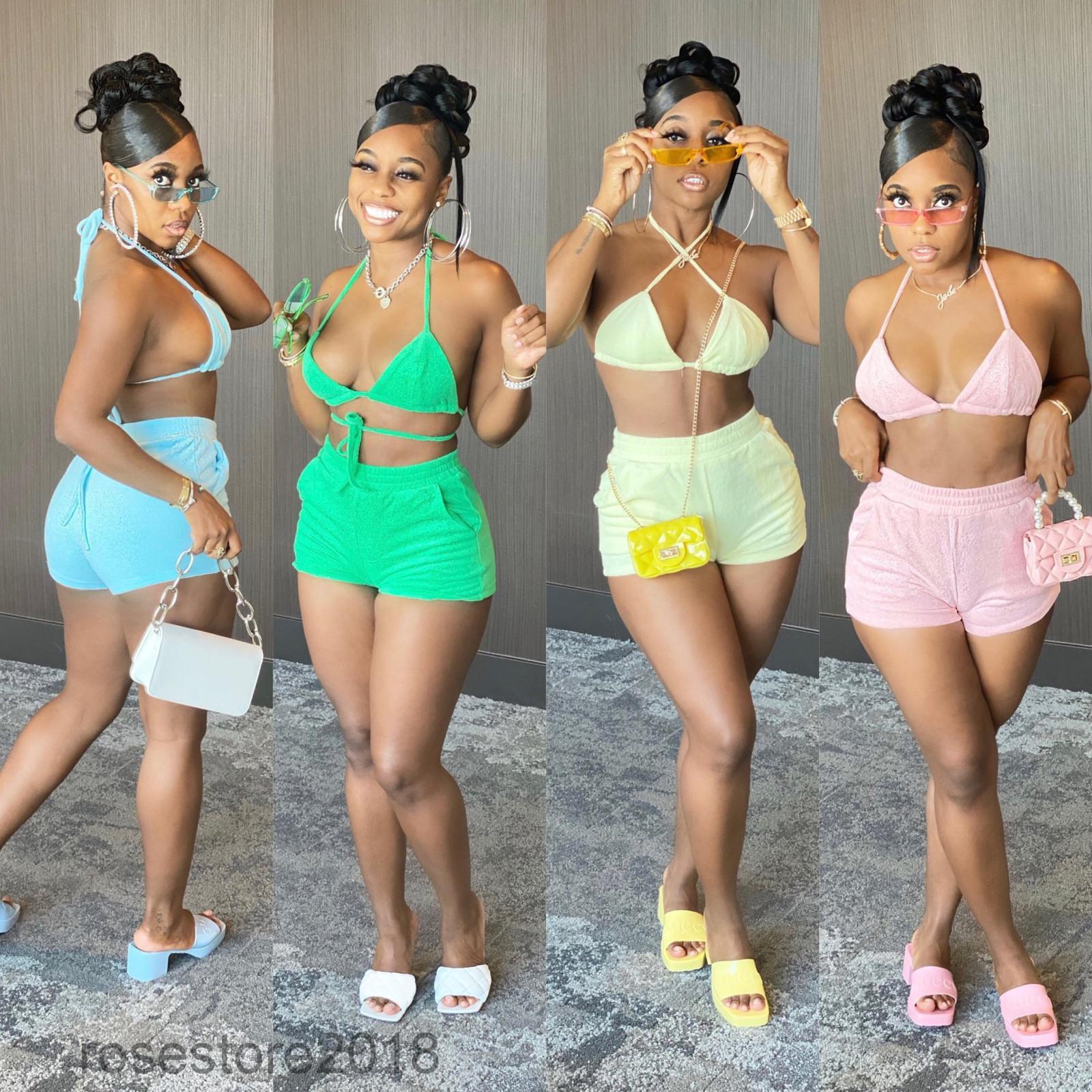 Nova feminina designer de maiô fashion casual mulheres simples e elegante cor sólida biquíni dois peças sets sexy sling shorts terno