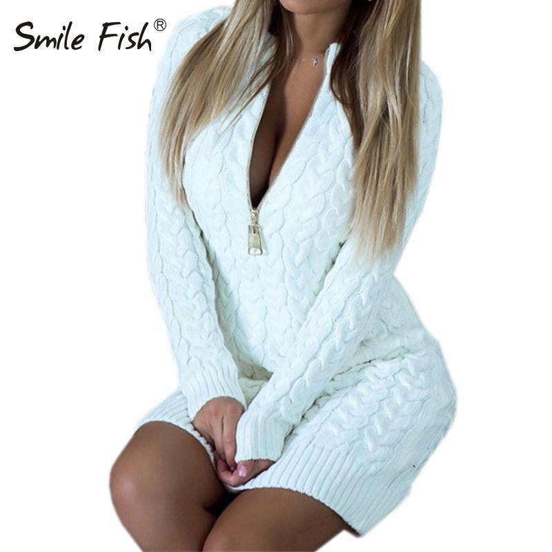 Mini moda zip-up cerniera autunno inverno maglione vestito sexy con scollo a V abiti da partito caldo bodycon inverno donne vestito nuovo GV101 210303