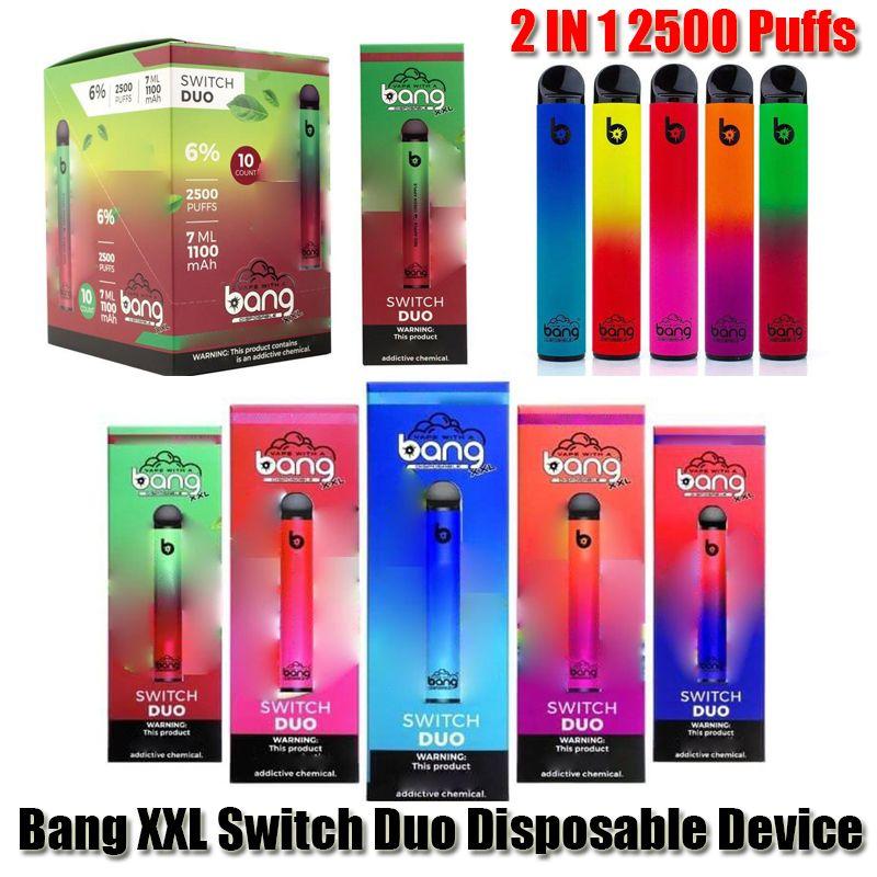 Bang XXL Switch Duo Pro Max 2 в 1 одноразовом устройстве E-Cigarettes 2000 2500 Puffs 1100 мАч Префилированный аккумулятор POD XXTRA Двойной Vape Pen