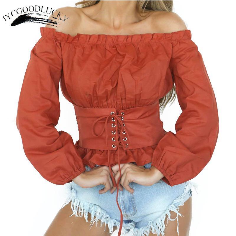 Camicette da donna Camicie Bandage Slim Vita Blusa Delle Donne Manica Lunga Corte Slash Collo Cute Top per Blusas Autunno 2021 Sexy off Spalla