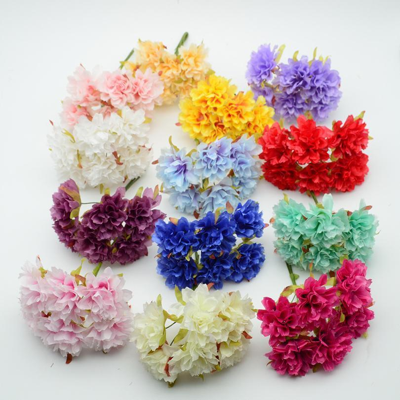 6pcs Artificial Flowers Cheap For Christmas Wreath Glass Bottles Decor Home Wedding Diy New Year Gifts Fake Daisy Silk C jlleCj