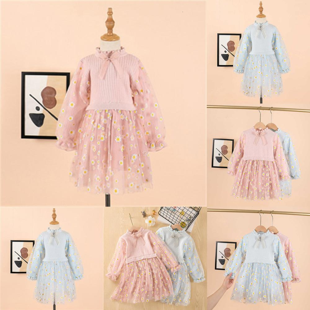 Девочка дети для модных платьев 2020 осень зима девушка свитер платье детская одежда цветок свитер девушка принцессы платье qpah