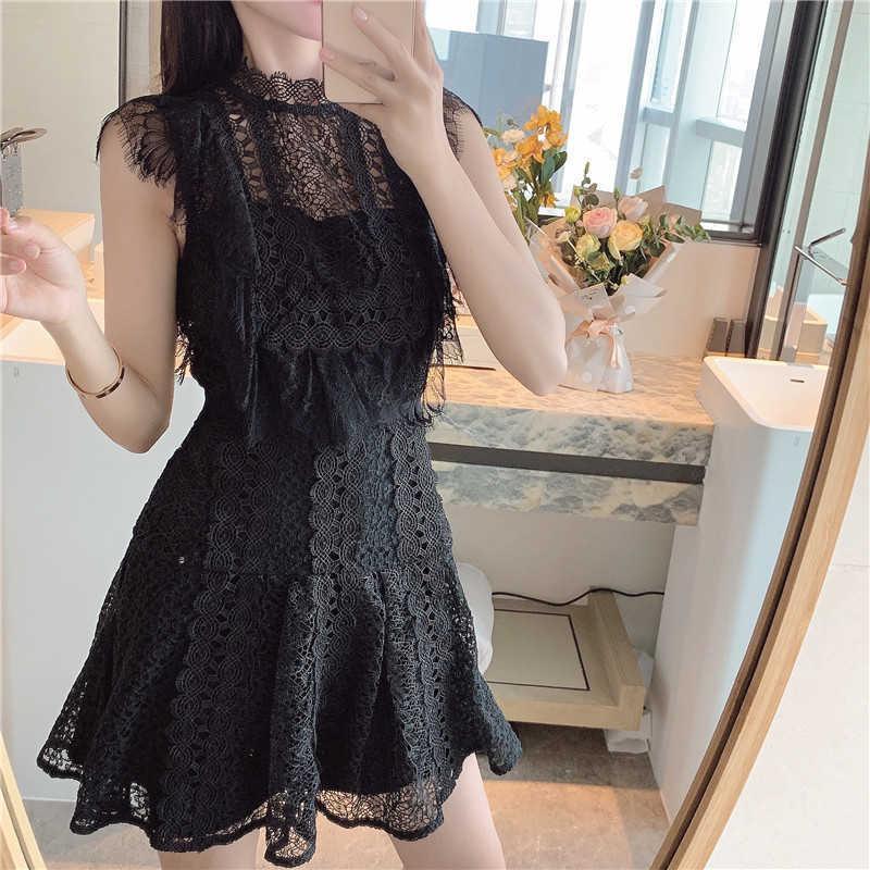 ZAWFL Siyah Dantel Elbise Kadın Yaz Kendi Kendini Portre Kolsuz Standı Sundress Bayanlar Oymak Seksi Parti Kulübü Elbiseler 210525